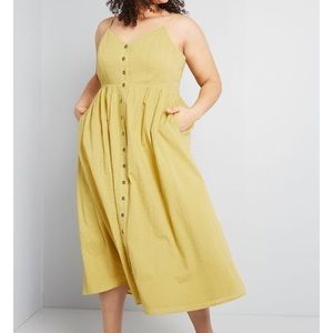 Modcloth Yellow Midi Dress